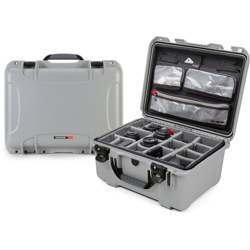 Nanuk 933 Protective Equipment Case with Dividers and Lid Organizer (Silver)