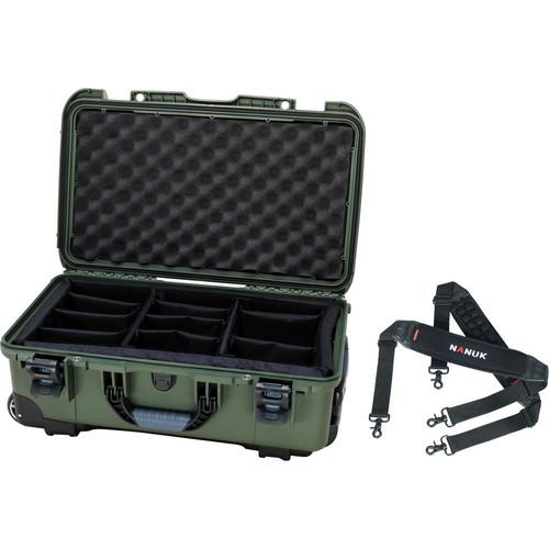 Nanuk Protective 935 Case with Padded Dividers & Shoulder Strap (Olive)