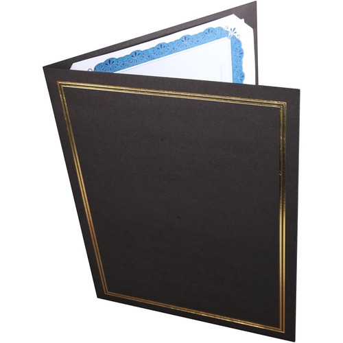 "National Photo Folders Black/Gold Premier Certificate Holder (8.5 x 11"", 25-Pack)"