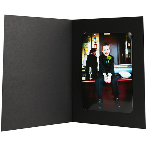 "National Photo Folders Slit-Cut Photo Folder for Prints (4 x 6"" and 5 x 7"", 25-Pack, Black)"