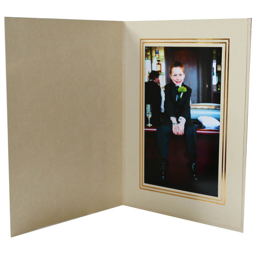 "National Photo Folders Premier Photo Folder (4 x 6"", 25-Pack, Marbled-Pattern Champagne)"