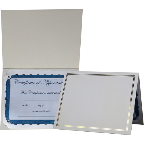 "National Photo Folders White/Gold Premier Certificate Holder (8.5 x 11"", 25-Pack)"
