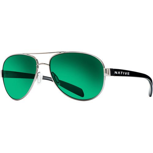 Native Eyewear Patroller Sunglasses (Gunmetal/Iron Frame, Green Reflex Lenses)