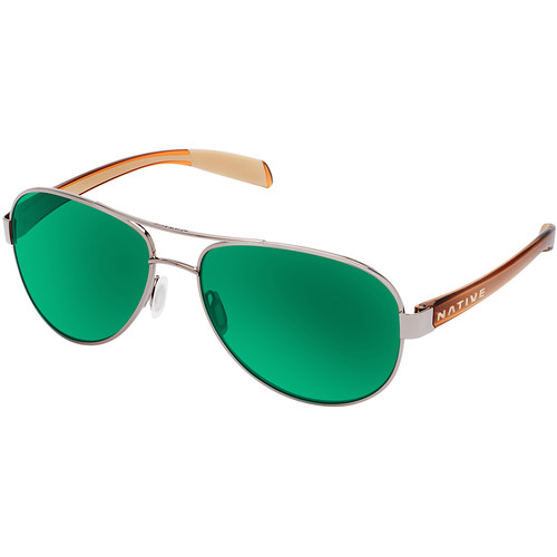 Native Eyewear Patroller Sunglasses (Chrome/Crystal Brown Frame, Green Reflex Lenses)