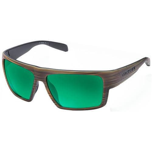Native Eyewear Eldo Sunglasses (Wood/Black Frame, Green/Brown Reflex Lenses)