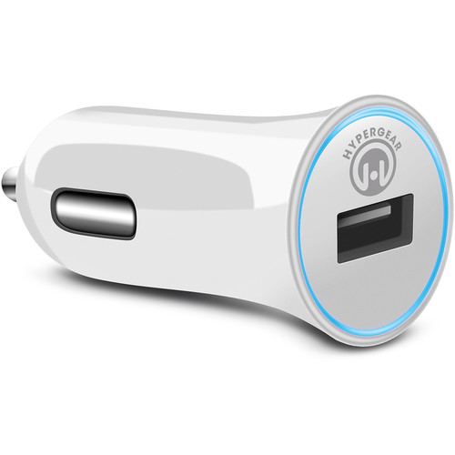 HyperGear Rapid Car Charger with USB to MFi Lightning Charge/Sync Cable (2.4A, 4', White)