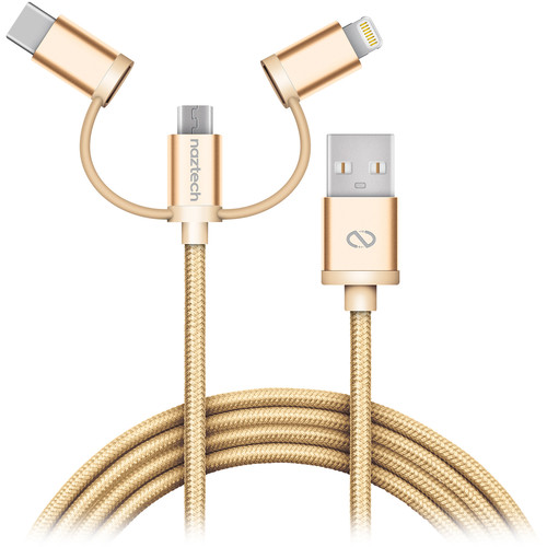 Naztech Braided 3-in-1 Hybrid USB Cable (6', Gold)