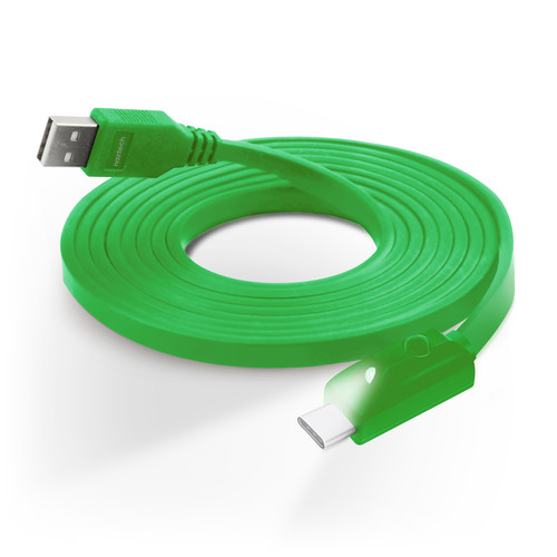 Naztech USB Type-C to Type-A Charge/Sync Cable with LED Light (6', Green)