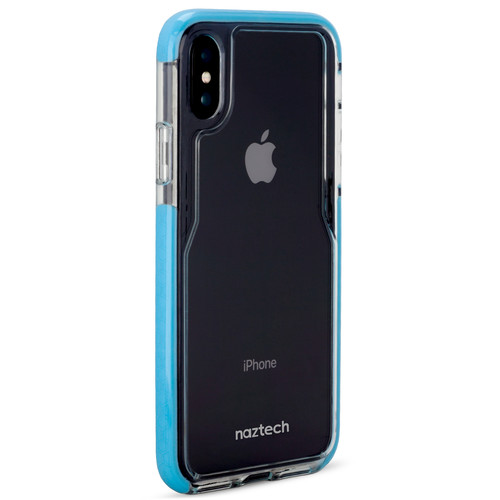 Naztech Edge Series Hybrid PC+TPU Case for iPhone X (Clear/Blue)