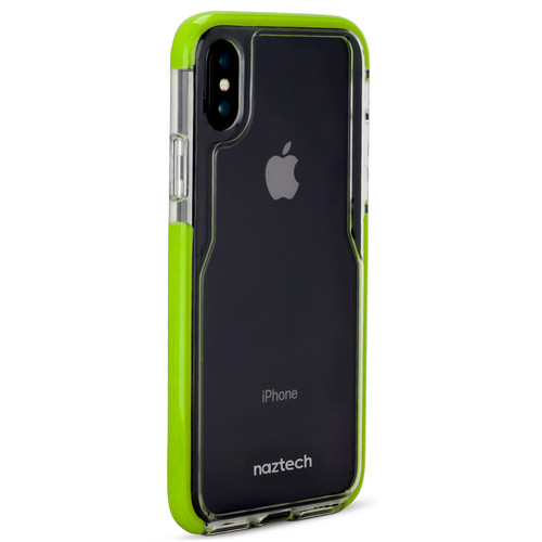 Naztech Edge Series Hybrid PC+TPU Case for iPhone X (Clear/Lime)