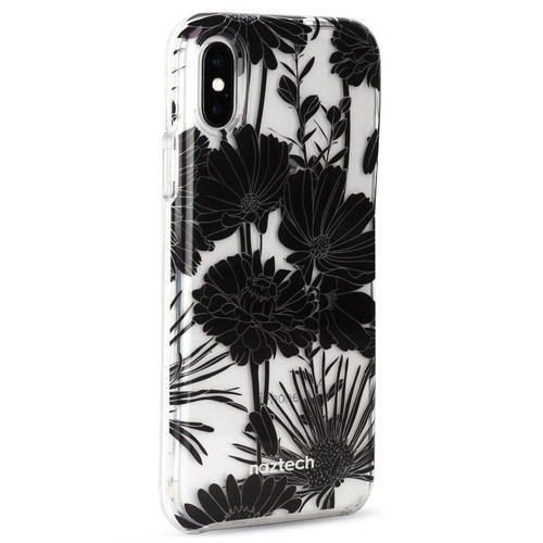 Naztech Spring Series Hybrid PC+TPU Case for iPhone X (Black Floral)