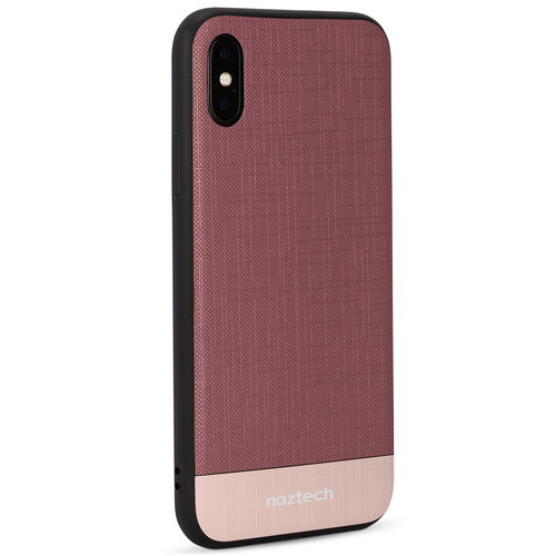 Naztech Texture Series Hybrid PC+TPU Case for iPhone X (Wine/Rose Gold)