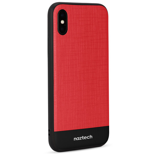 Naztech Texture Series Hybrid PC+TPU Case for iPhone X (Red/Black)
