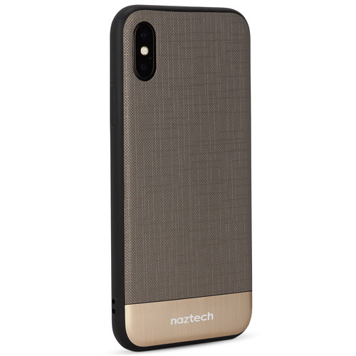 Naztech Texture Series Hybrid PC+TPU Case for iPhone X (Gray/Gold)