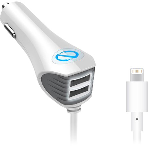 Naztech N420 Wired TRiO Car Charger with Lightning Connector (White)