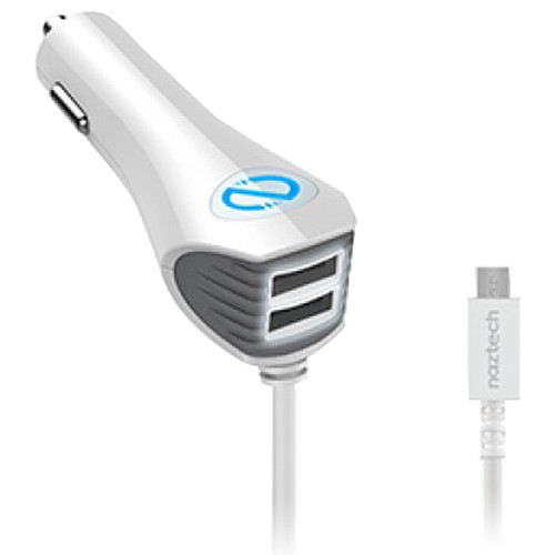 Naztech N420 Wired TRiO Car Charger with Micro-USB Connector (White)