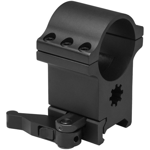 NcSTAR Six-Screw Scope Ring with Locking QR Mount (30mm, Aluminum, Black)