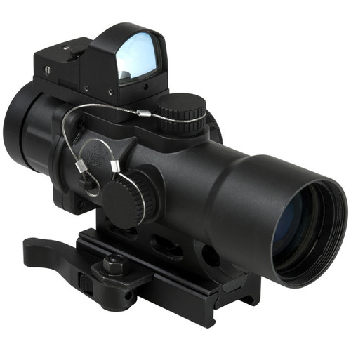 NcSTAR 3.5x32 CPO Riflescope with Micro Green Dot Sight (Blue/Green Illuminated Urban Tactical Reticle)