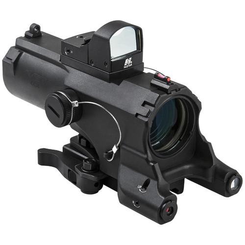 NcSTAR 4x34 ECO Laser LED Riflescope with Green Micro Dot Reflex Optic (Blue Illuminated Urban Tactical Reticle, Black)