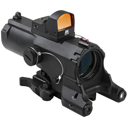 NcSTAR 4x34 ECO Laser LED Riflescope with Red Micro Dot Reflex Optic (Blue Illuminated Urban Tactical Reticle, Black)