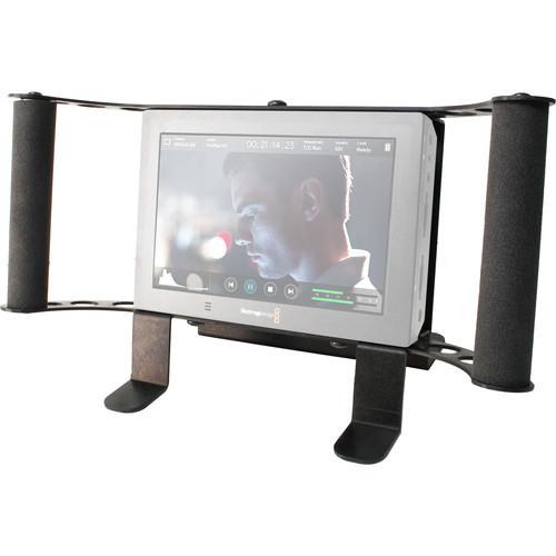 Nebtek Bracket For The Blackmagic Video Assist 4K Monitor W/Gold Mount Anton Bauer Battery Adapter