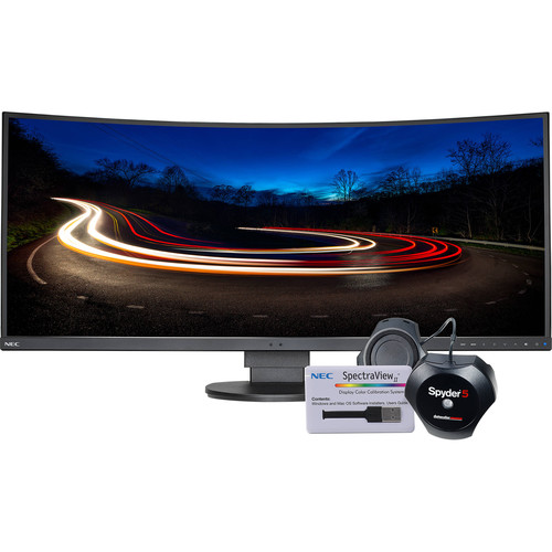 """NEC EX341R-BK-SV 34"""" 21:9 Ultrawide Curved LCD Monitor with SpectraView Color Calibration Kit"""