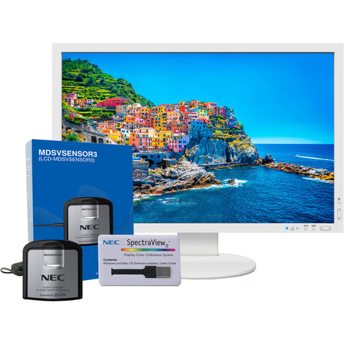 """NEC PA243W-SV 24.1"""" 16:10 Wide Gamut IPS Monitor (with SpectraView II, White)"""