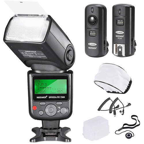 Neewer VK750 II Pro i-TTL Flash for Nikon Cameras with FC-16 Trigger and Accessories Kit