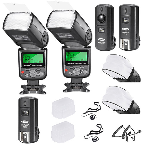 Neewer VK750 II Pro i-TTL Two Flash Kit for Nikon Cameras with FC-16 Trigger and Accessories