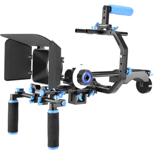 Neewer DSLR Shoulder Rig with C-Shaped Bracket and Matte Box (Blue)