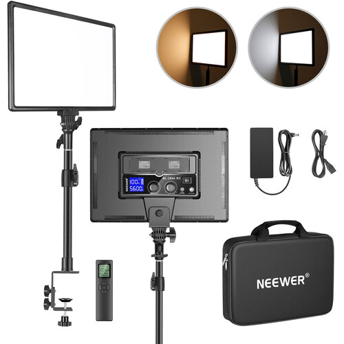 """Neewer 18"""" Dimmable Bi-Color LED Panel Light with Desk Mount Stand and 2.4 GHz Remote Kit"""