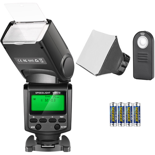 Neewer NW610 Manual Flash with Shutter Remote, Softbox, and Batteries Kit