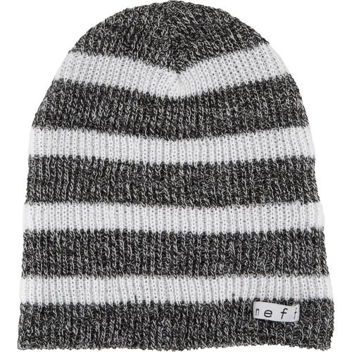 Neff Daily Stripe Beanie (Black/White Heather/White)