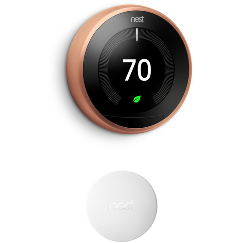 Nest Learning Thermostat (3rd Generation, Copper) and Temperature Sensor (White) Kit