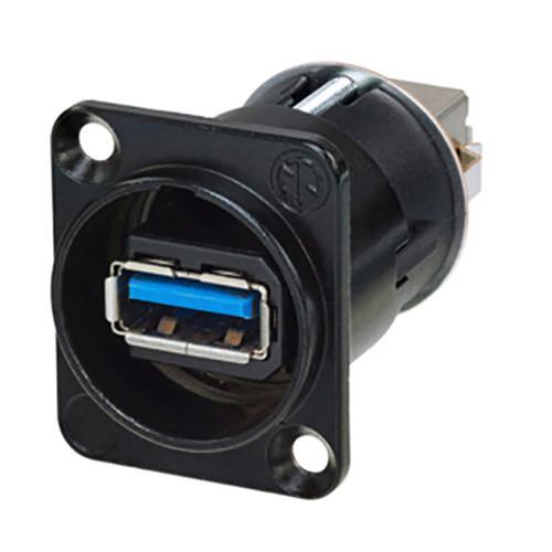 Neutrik Reversible USB A to USB B Gender Changer in D-Shape Housing (Black)