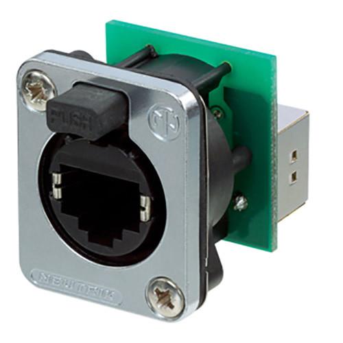 Neutrik EtherCon Series RJ45 Feedthrough Receptacle with Sealing Kit (Nickel)
