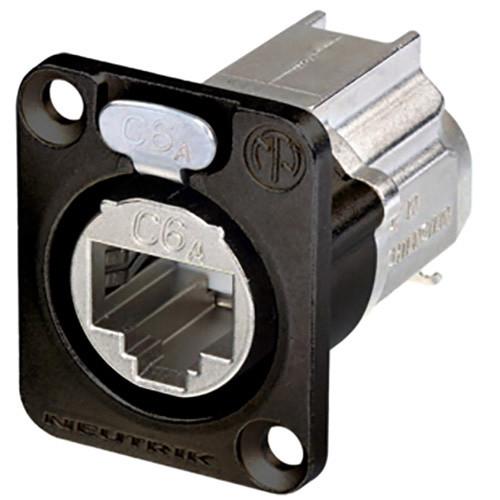 Neutrik EtherCon Series CAT6A Shielded IDC Feedthrough Receptacle (Black)