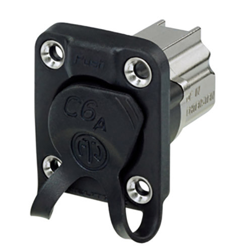 Neutrik EtherCon Series CAT6A Shielded IDC Feedthrough Receptacle with Rubber Sealing (Nickel)