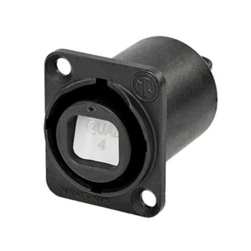 Neutrik NO4FDW-A OpticalCon Quad Chassis Connector (Black)