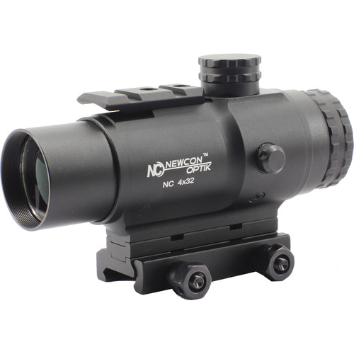 Newcon Optik 4x32 Prismatic Sight (Red-Green Mil-Dot Illuminated Reticle, Matte Black)