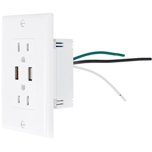 NewerTech Power2U 15A Dual AC Outlet with Two USB Charging Ports (White)