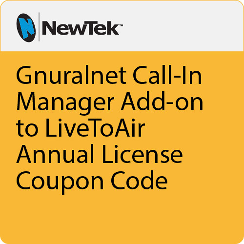 NewTek Gnuralnet Call-In Manager Add on to LiveToAir Annual License Coupon Code