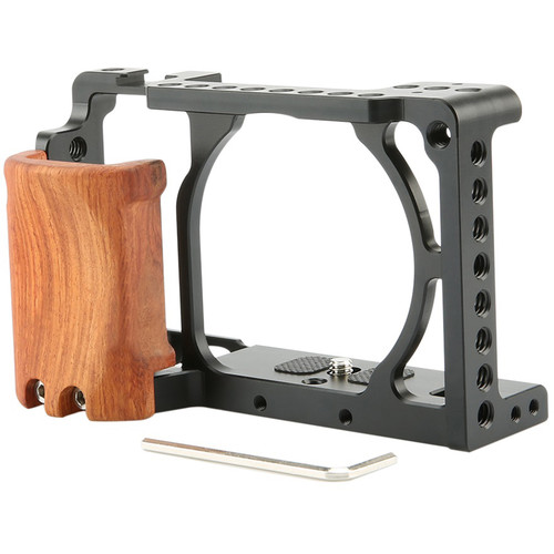 Niceyrig Cage with Wooden Handgrip for Sony Alpha a6000/a6300