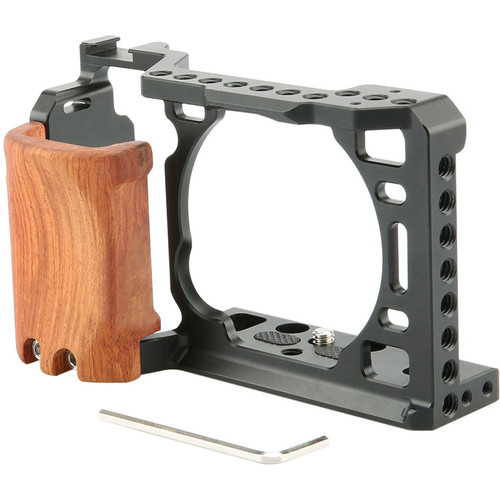 Niceyrig Cage with Wooden Handgrip for Sony Alpha a6400/a6500