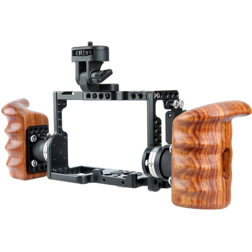 Niceyrig Sony Camera Cage Kit with Monitor Mount Arri Standard Rosette Wooden Handgrip