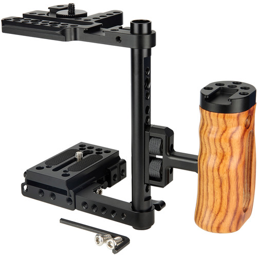 Niceyrig Camera Half-Cage Kit with Wooden Side Handle for Canon/Nikon/Panasonic