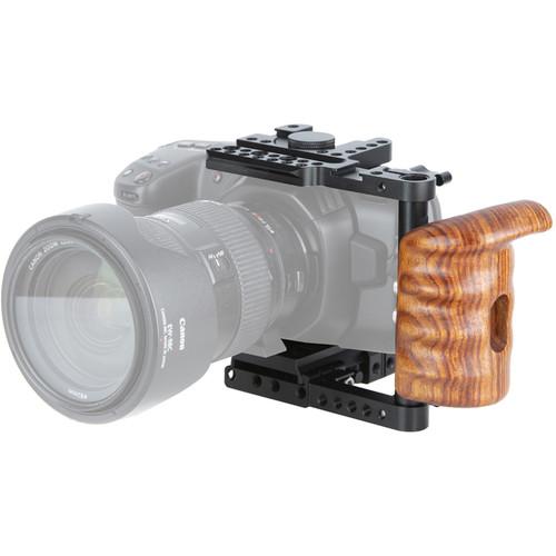 Niceyrig Half Cage with Wood Handgrip for Blackmagic Pocket Cinema Camera 6K/4K