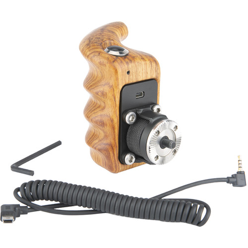 Niceyrig Right Side Wooden Handle Grip with Control Button Switch for Select Panasonic Lumix Camera