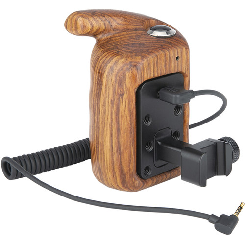Niceyrig Wooden Hand Grip (Left Side) With Record Start/Stop Remote Trigger Compatibility Panasonic Lumix S1/