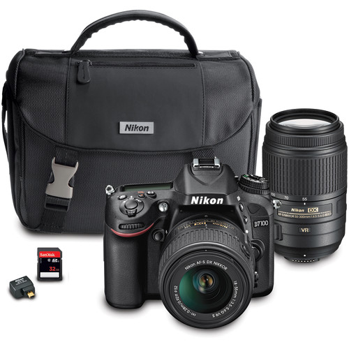 Nikon D7100 DSLR Camera with 18-55mm and 55-300mm Dual Lens Wi-Fi Kit